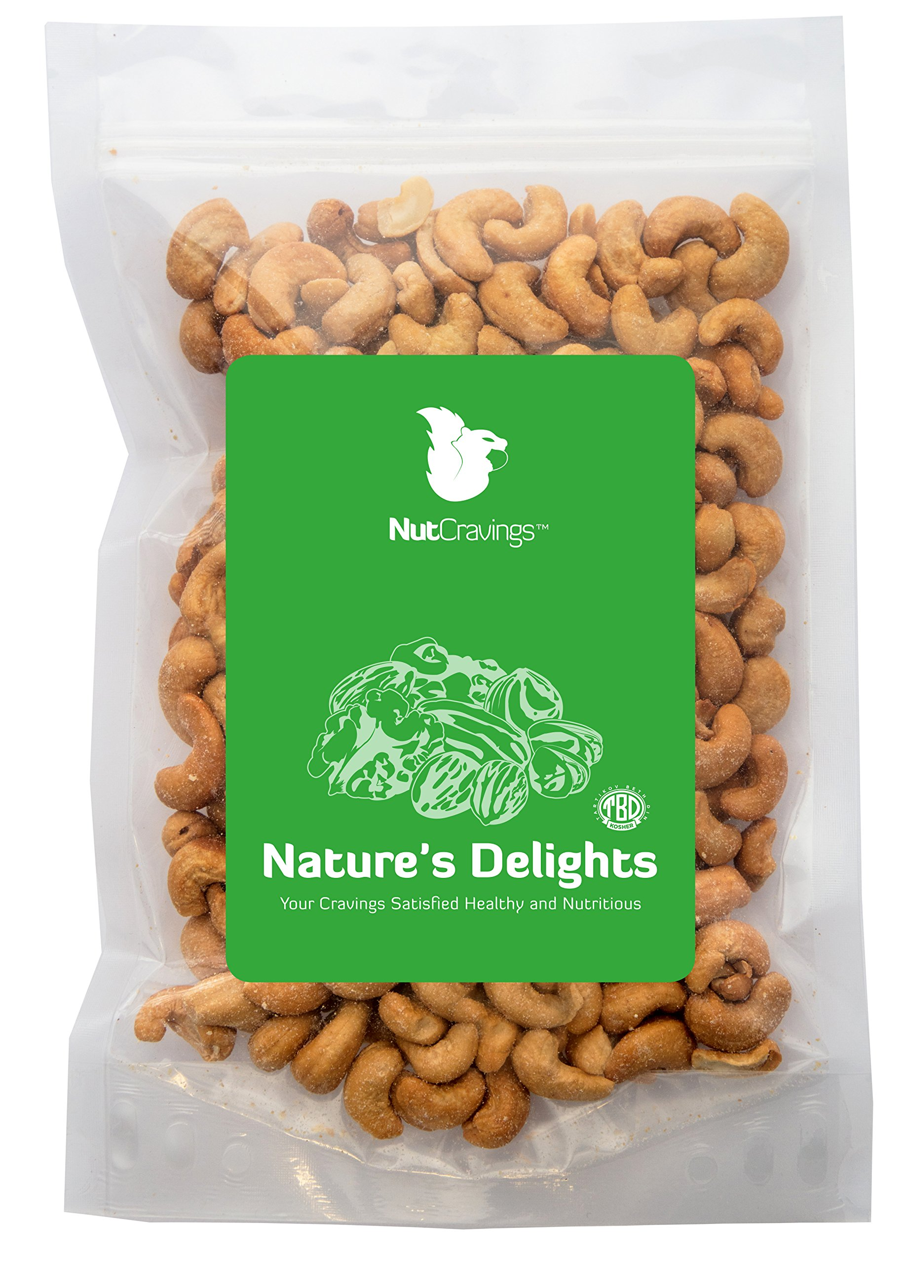 Nut Cravings Fancy Whole Cashews – 100% All Natural Roasted & Salted Premium Nuts – 1LB