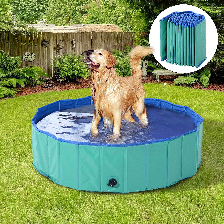 PawHut 12'' x 60'' Collapsible PVC Pet Foldable Swimming Pool Dog Bathing Tub - Green / Blue