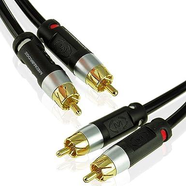 Mediabridge Cable estéreo con izquierda y derecho Audio – Rca a RCA chapado en oro Conectores