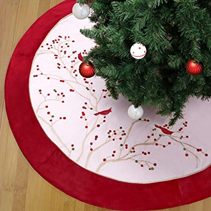 Teresa S Collections 48 Country Road Red Green Gold Holly Leaves Christmas Tree Skirt Velvet Trim Themed With Christmas Ornaments Not Included