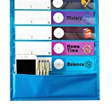 Youngever Classroom Pocket Chart,13+1 Pocket, Daily Schedule Pocket Chart, 26 Double-Sided Reusable Dry-Eraser Cards (13 Color+13 Blank) Educational Charts for Classroom Office Home Preschool Activity