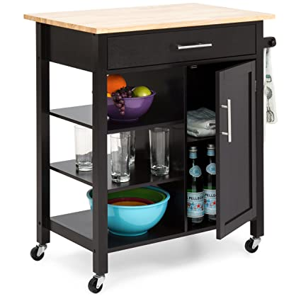 Best Choice Products Utility Kitchen Island Cart W Wood Top Drawer Shelves Cabinet For Storage Espresso