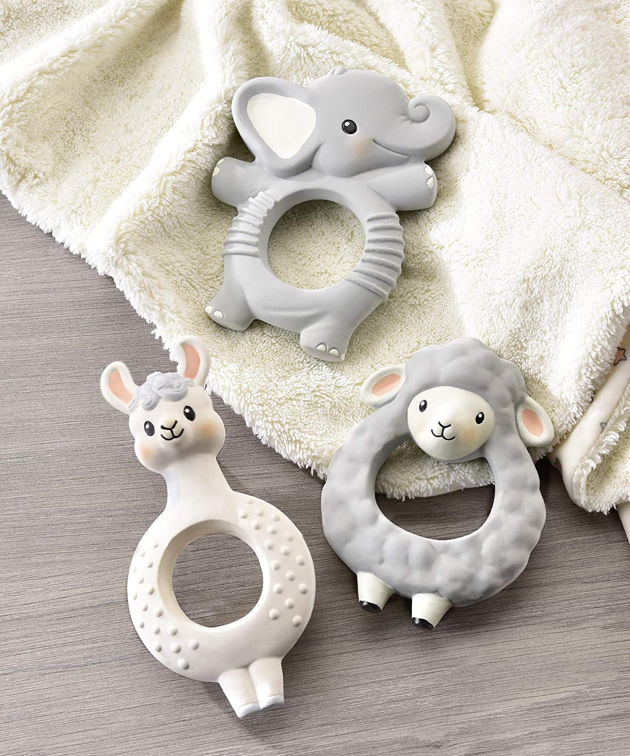 Sheep Character Textured Gray 4 x 3 Natural Rubber Baby Teething Ring Toy Gift Craft