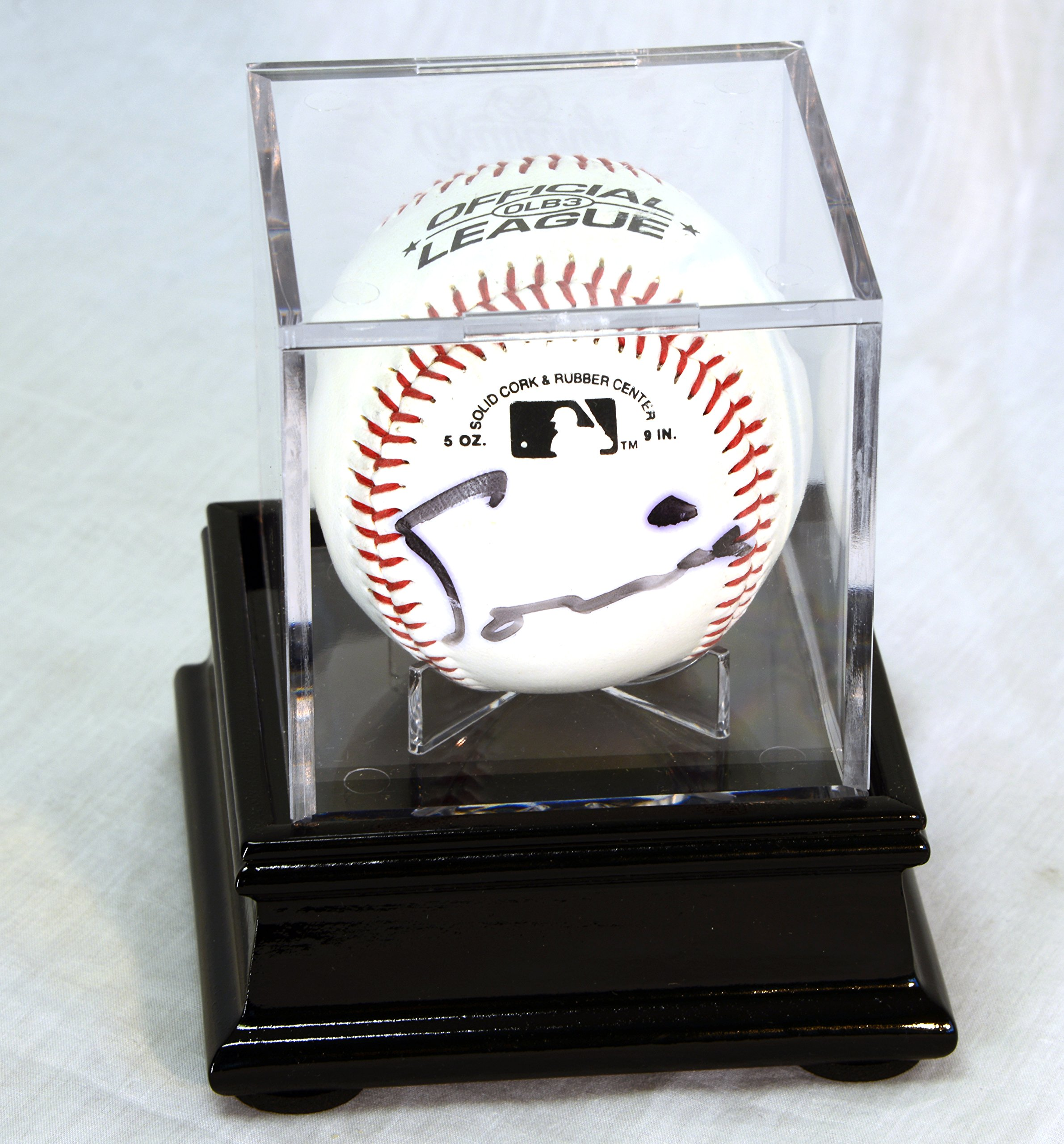 Single Baseball Cube Display Case Stand with 98% UV Ultra Pro Cube Included (Black Finish) by sfDisplay.com,LLC. (Image #2)