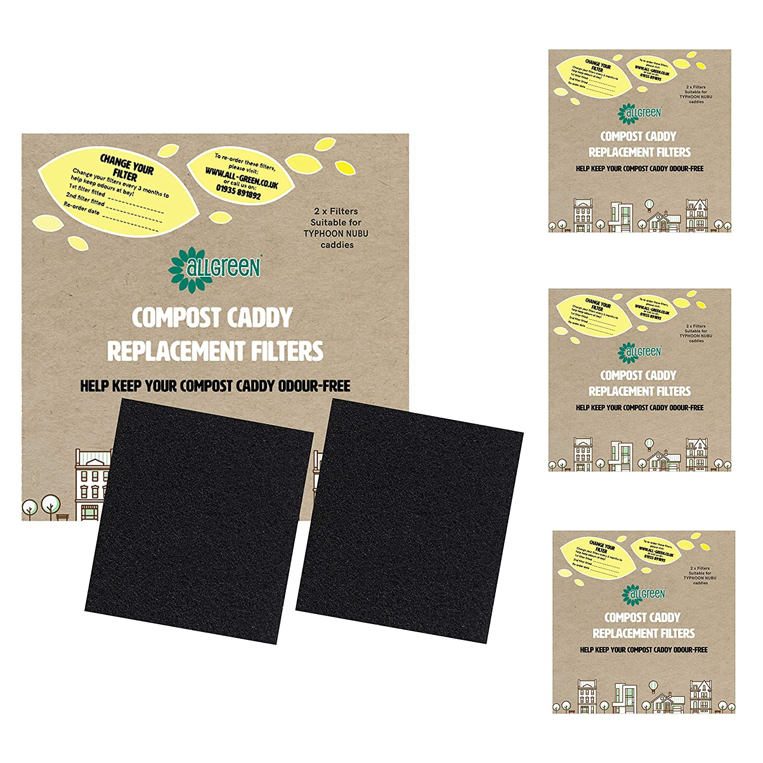 4X 2pk - Total 8 Filters Compost Caddy Spare Filters Suitable for The Typhoon Nubu Caddy