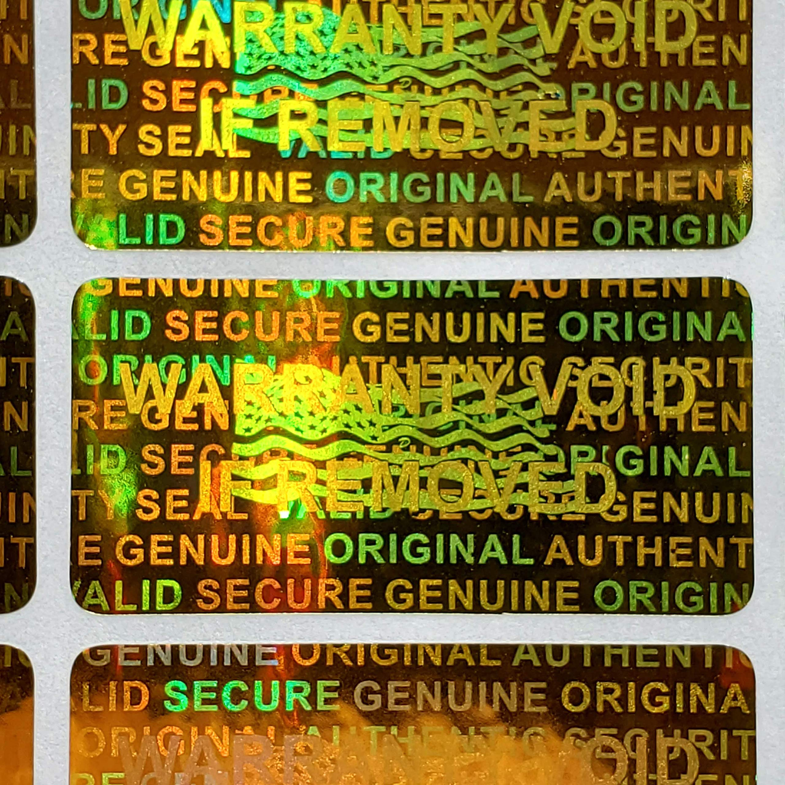 1000 Security Seal Hologram Tamper Evident Warranty Labels Stickers 15 mm x 30 mm- Dealimax Brand (Golden) by Dealimax