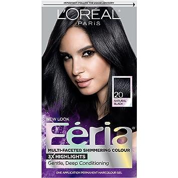 Amazon.com : L\'Oréal Paris Feria Permanent Hair Color, 20 Black ...