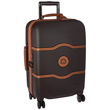 DELSEY Paris Luggage Chatelet Hard+ Carry On Spinner Suitcase Hardcase with Lock, Chocolate