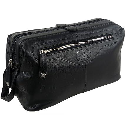 adaeb1b55f5d Mens Rowallan LARGE Quality Vintage Leather Wash Bag Travel Toiletries ( Black)