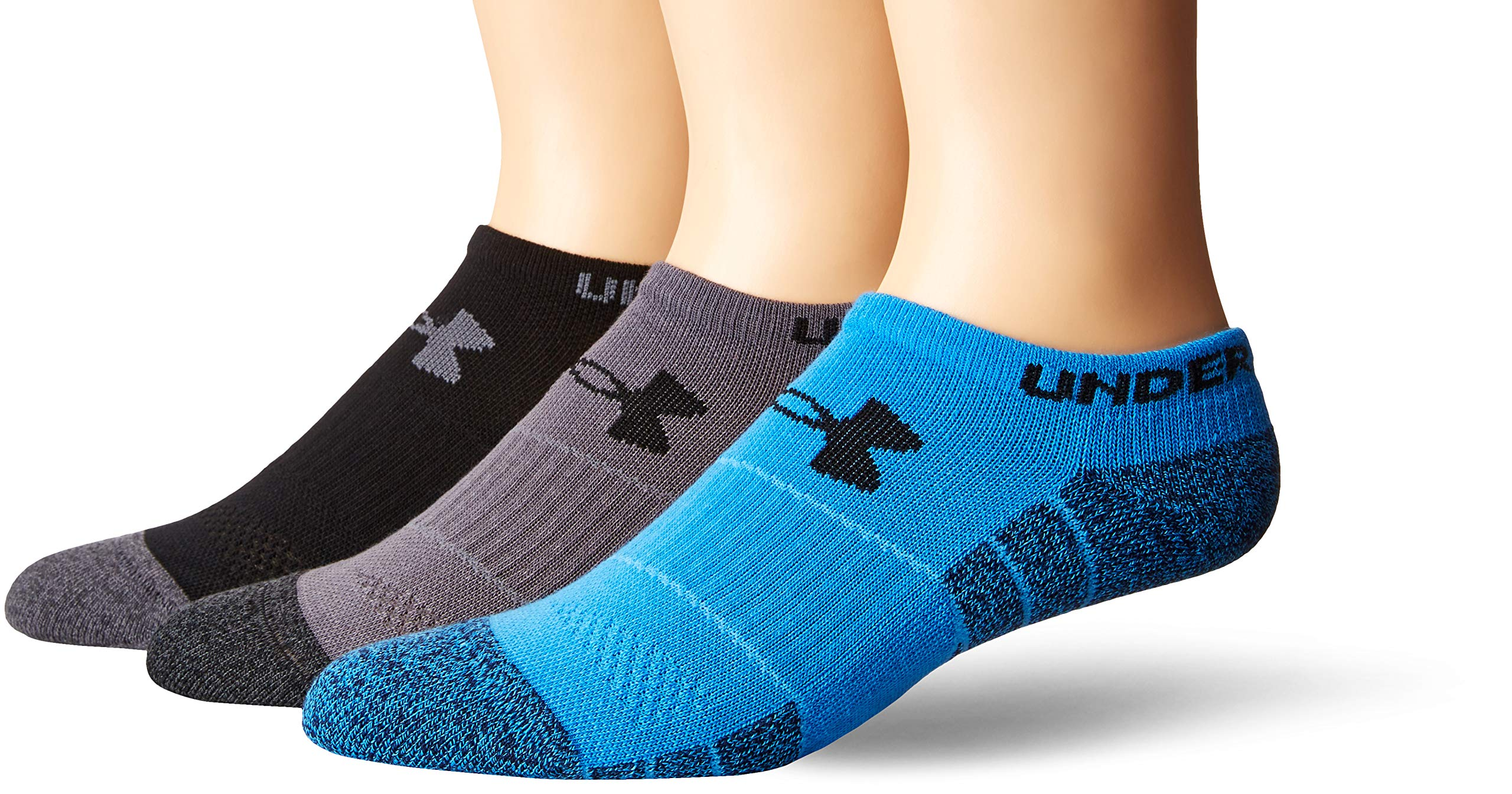 Under Armour Men's Elevated Performance No Show (3 Pack), Blue Marl/Assorted, Medium by Under Armour
