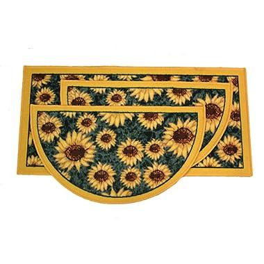 Kashi Home Sunflower 3pc Kitchen Rug Set, (2) Slice 18 x30  Rugs, (1) 20 x40  Mat, Non-Slid Latex Back
