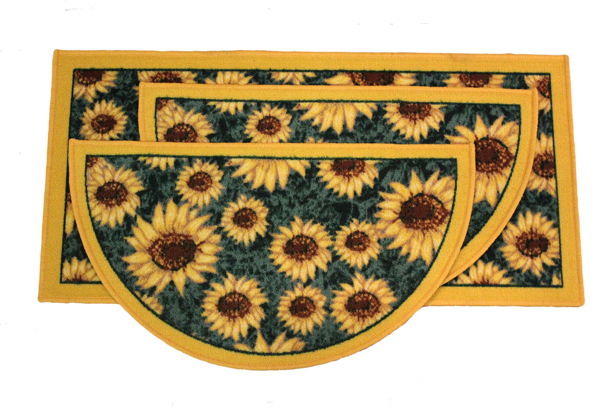 Kashi Home Sunflower 3pc Kitchen Rug Set, (2) Slice 18''x30'' Rugs, (1) 20''x40'' Mat, Non-Slid Latex Back