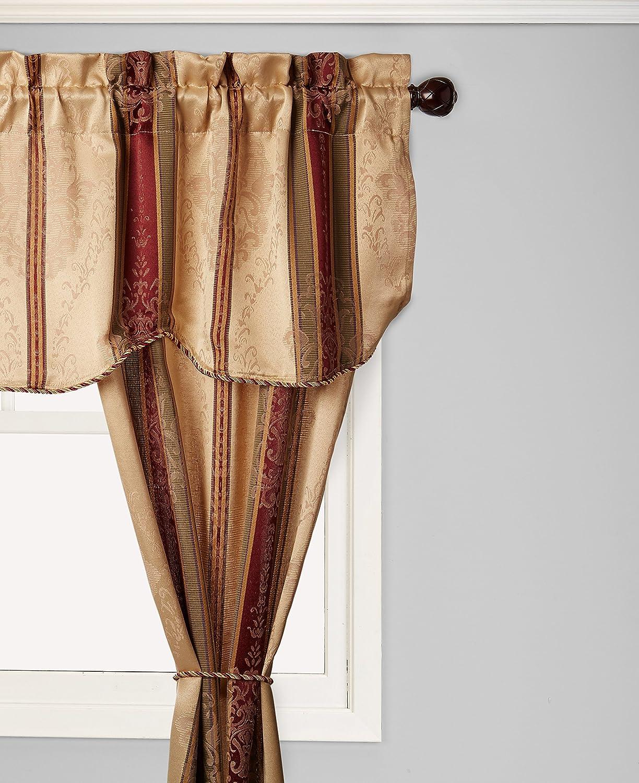 Window Accents 5-Piece Tuscan Scroll Stripe Jacquard Rod Pocket Set, 56 by 63-Inch, Autumn