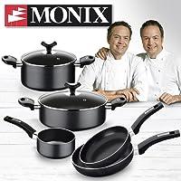 Monix Resistent Plus Bateria de Cocina de 5 Piezas y Lote de 2 sartenes de 20 y 24 cm, Aluminio, Negro, 16, 7