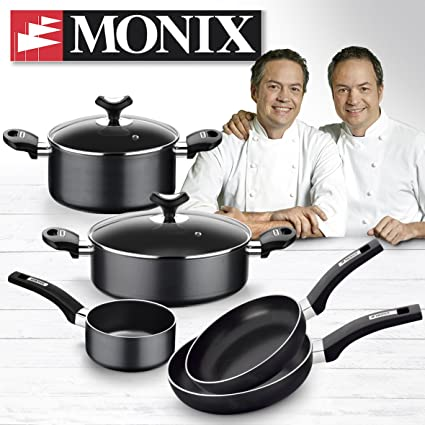 Amazon.com: Monix Resistent Plus 5 Piece Cookware Set and 2 Frying ...