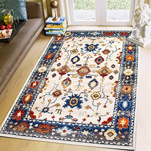 Super Area Rugs Traditional Vintage 8 X 10 Area Rug Boho Inspired Carpet Blue Orange Gray Ivory