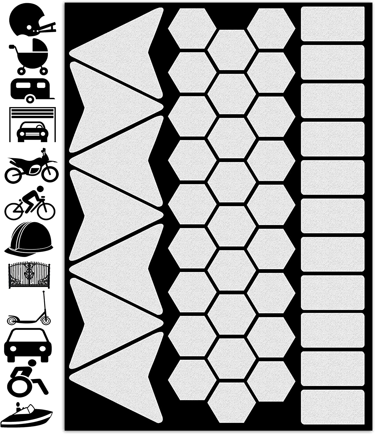 Hexagons Iron-On Reflective Safety Decals Large