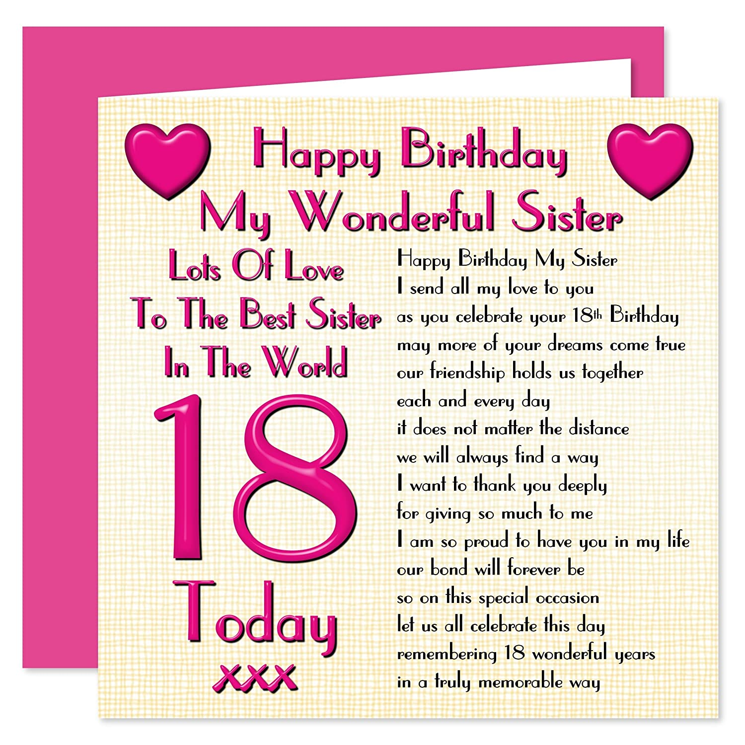 Sister 18th Happy Birthday Card