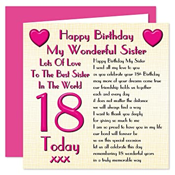 Sister 18th happy birthday card lots of love to the best sister sister 18th happy birthday card lots of love to the best sister in the world bookmarktalkfo Choice Image