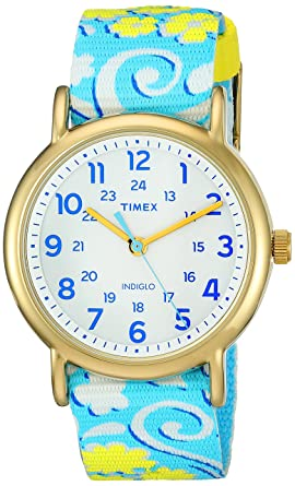 Timex Womens TW2P90100 Weekender Reversible White Swirl Nylon Slip-Thru Strap Watch