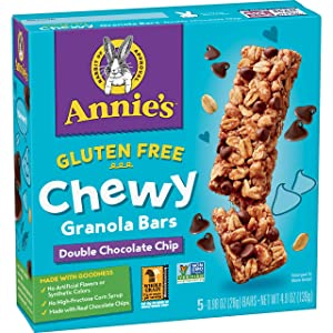 Annie's Gluten Free Chewy Granola Bar, Double Chocolate Chip, 4.9 oz, 5 ct (Pack of 12)