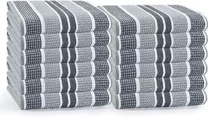 GLAMBURG 12-Pack Cotton Kitchen Dish Towels 18x28, Kitchen Dish Cloths, Tea Towels, Kitchen Towels with Hanging Loop, Absorbent Dish Towels Cotton - Charcoal Grey