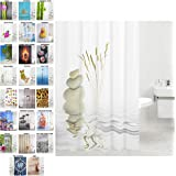 Rideau de douche, large choix de beaux rideaux de douche, de haute qualité, 12 anneaux inclus, imperméable, effet anti-moisissures (180 x 200 cm, Équilibre)