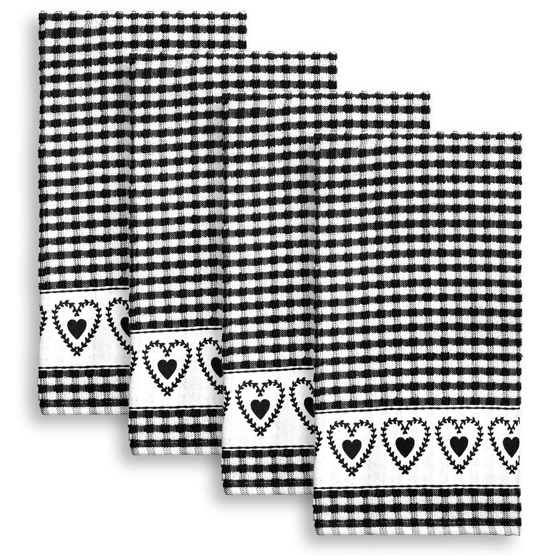 Cackleberry Home Joyful Hearts Terrycloth Kitchen Towels 100% Cotton, Set of 4 (Black)
