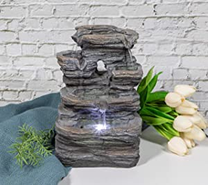 Ferrisland 5-Tier Cascading Tabletop Fountain with LED Lights - Indoor/Outdoor Water Fountain Decor Tabletop Water Fountain Small Relaxation Waterfall Feature, Indoor Oudoor Decorative Tabletop Founta
