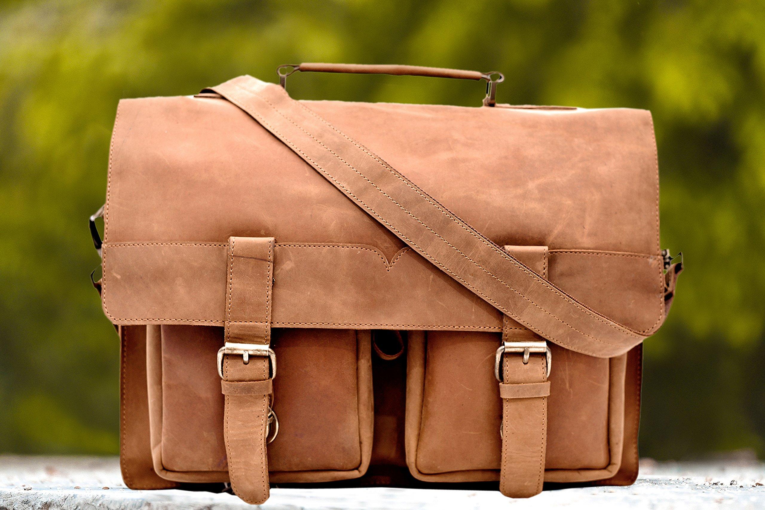 Genuine Leather Bag By Handmade_World 16'' Vintage Buffalo Messenger Satchel Laptop Briefcase Unisex Bags Crazy Briefcase Bags For Men Women
