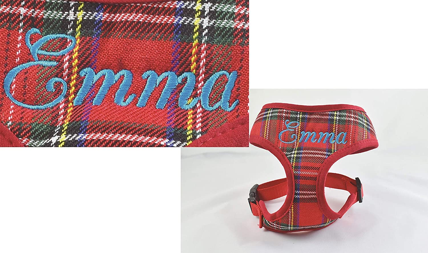 Adjustable Soft Comfortable Custom Embroidered Name or Order it Blank Personalized Custom Red Stewart Plaid Padded DOG Harness