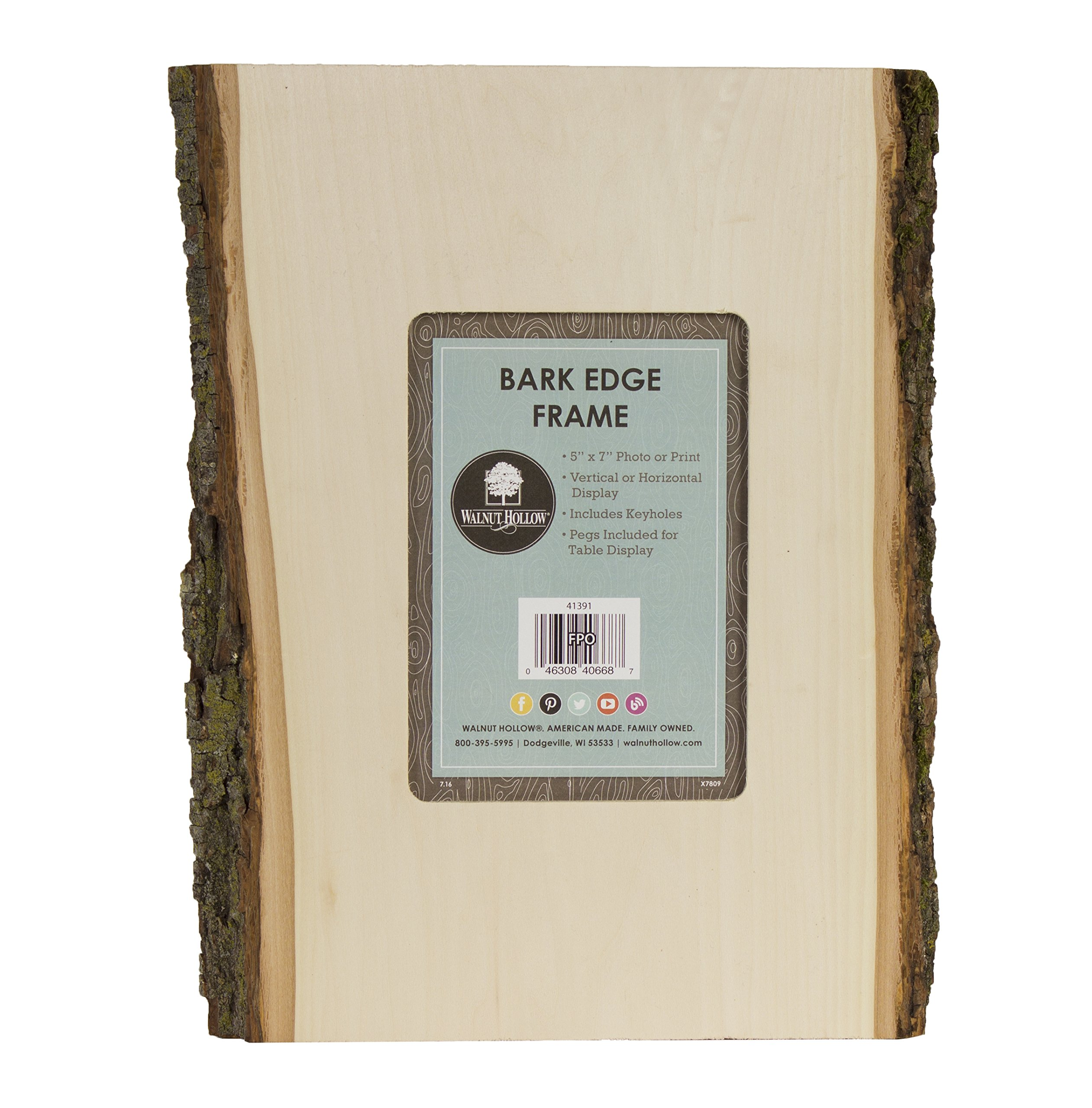 Walnut Hollow 5x7 Photo Picture Frame with Bark Edges