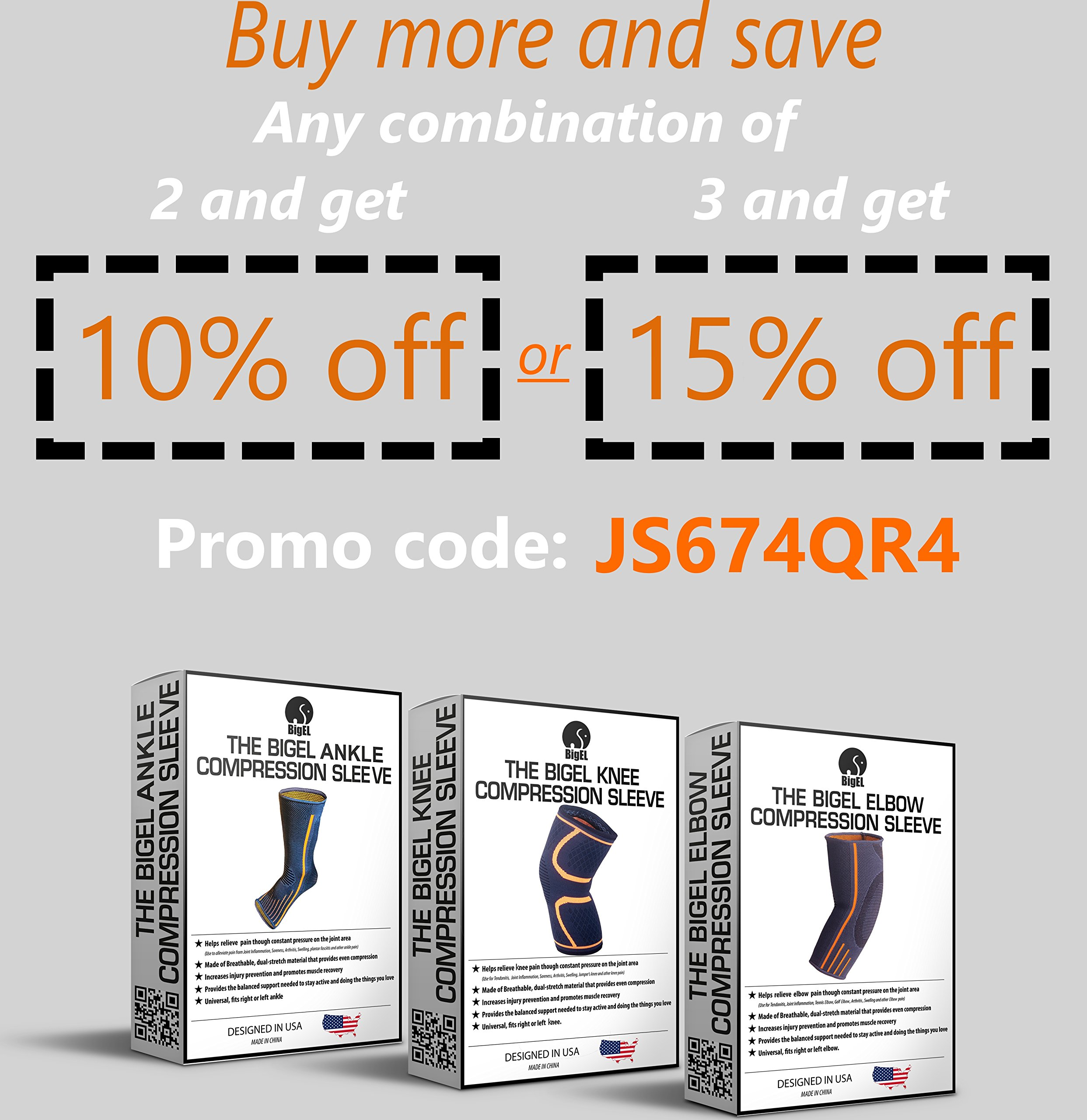 Ankle Brace Compression Sleeve   Arch Support   Foot Sock for Injury Recovery, Joint Pain, Swelling, Achilles Tendon   Pain Relief from Heel Spurs, Plantar Fasciitis   Breathable   Women & Men - M by BigEL (Image #7)