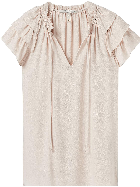 TALLA M. Scotch & Soda Soft V-Neck Top with Ruffle Sleeves, Blusa para Mujer