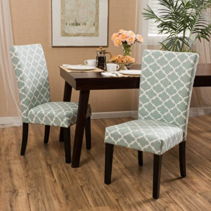 Modern Fabric Moroccan Quatrefoil Pattern Parsons Style Dining Chairs |  Wood Finish Wooden Legs   Set