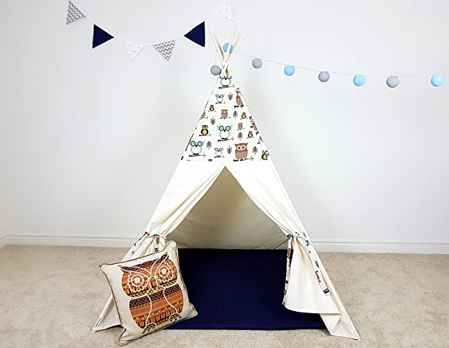 Amazon.com: Kids Teepee Ivory Owl pattern Tipi with Poles Girls ...