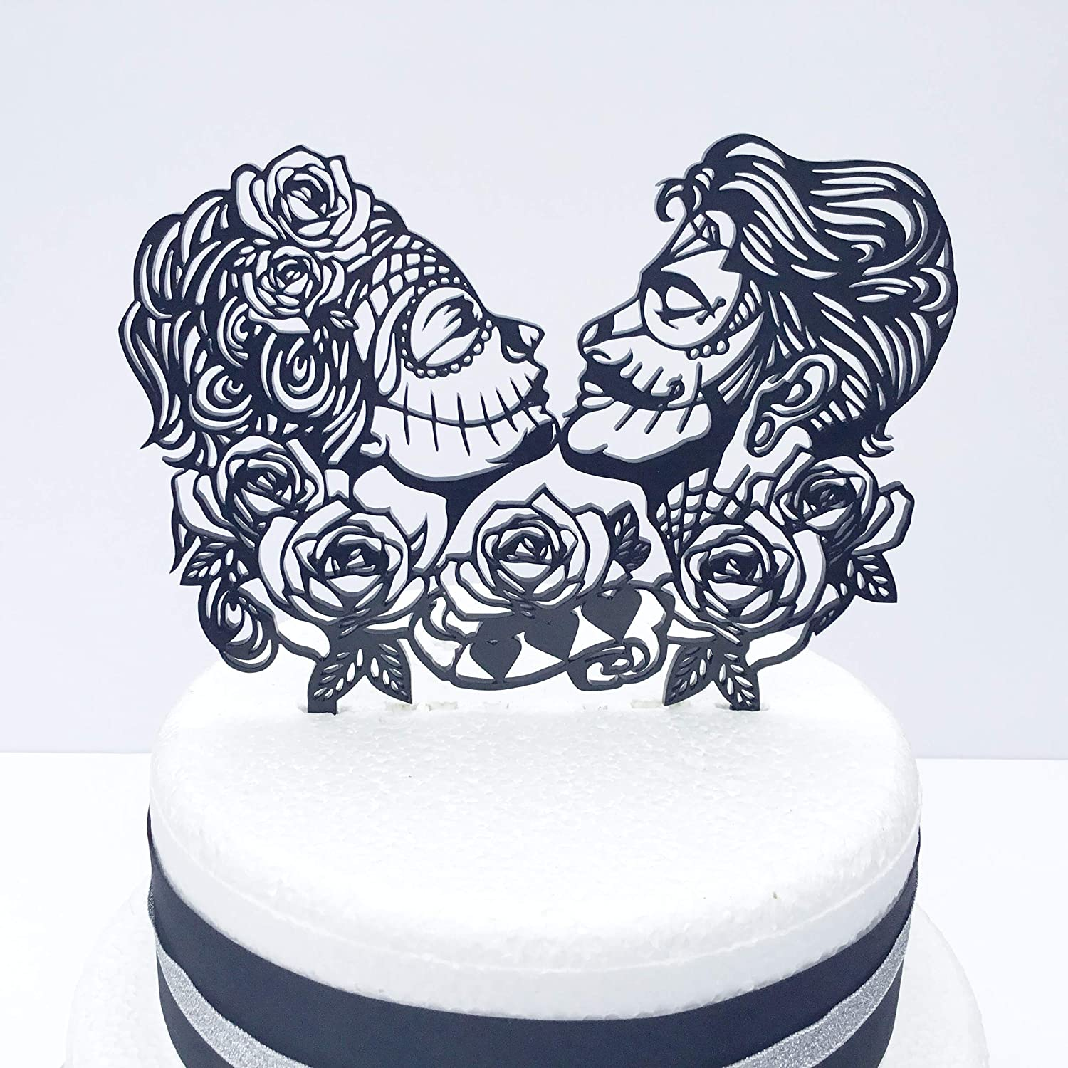 Day Of The Dead Rose Gothic Rock Alternative Wedding Cake Topper
