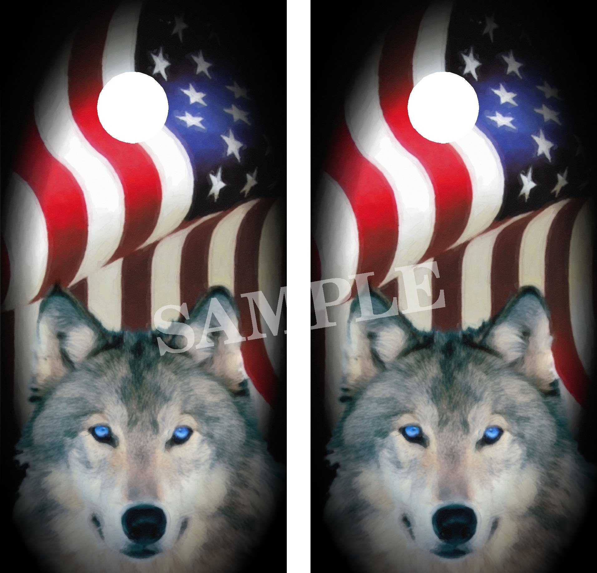 Crabtree Signs Amer Flag - Wolf Cornhole Board Wraps Vinyl Graphics Decals by Crabtree Signs