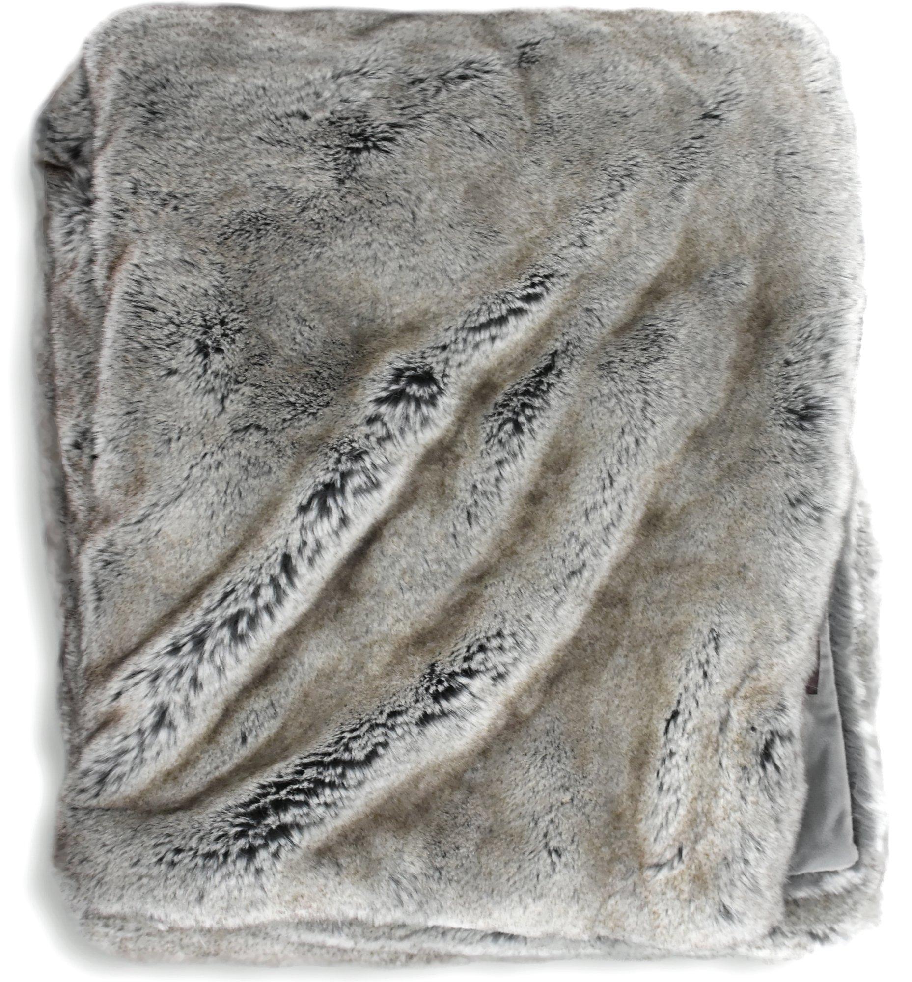 Luxury Faux Fur Oversized Throw Blanket with Plush Velvet Reverse, Fox Lynx or Gray Mink (Grey) by Soft Throw