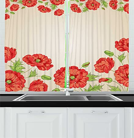 Floral Decor Kitchen Curtains By Ambesonne, Illustration Of A Card With  Poppy Flowers Decorations For