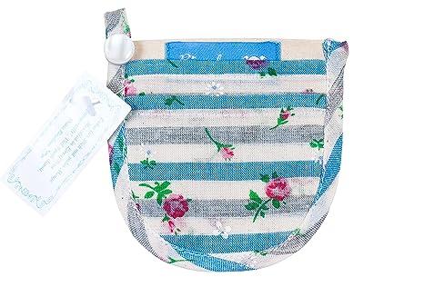 Minicartera Monedero para el Sujetador Ropa Interior algodón Beis Rayas Flores Gris Azul 9 x 8