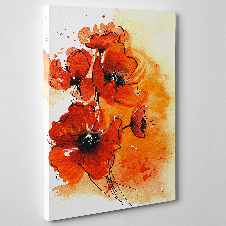 Natura Fiori PAPAVERI Rossi Spessore 2cm - Flowers Fiore 30x40cm QUADRO SU TELA CANVAS INTELAIATO cod.034
