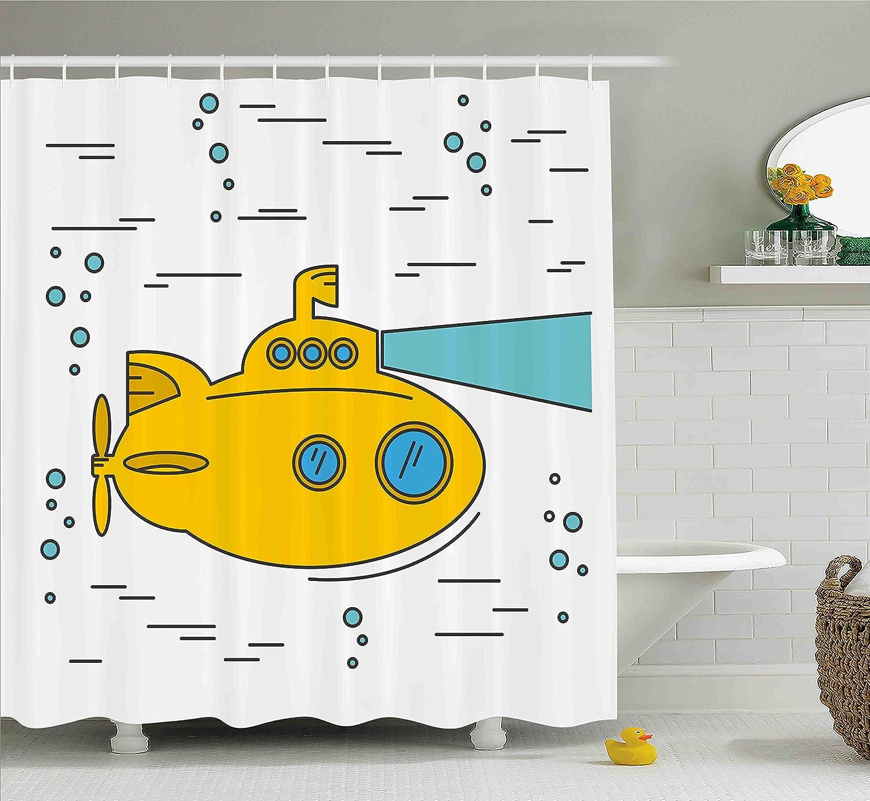 Amazon.com: Ambesonne Yellow Submarine Shower Curtain Set, Ocean ...
