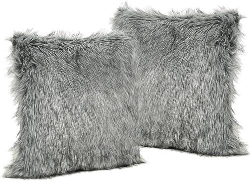Christopher Knight Home 304253 Laraine Furry GlamDark Faux Fur Throw Pillows Set of 2 , Dark Grey Light Grey Streaks