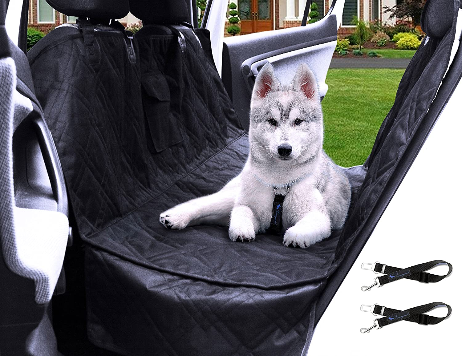 Transpawt Luxury Pet Car Back Seat Cover – Large Waterproof Hammock Style – Black, 57 L x 55 W with Additional 8 Side Seat Protectors. Includes Bonus x2 Dog Seat Belts