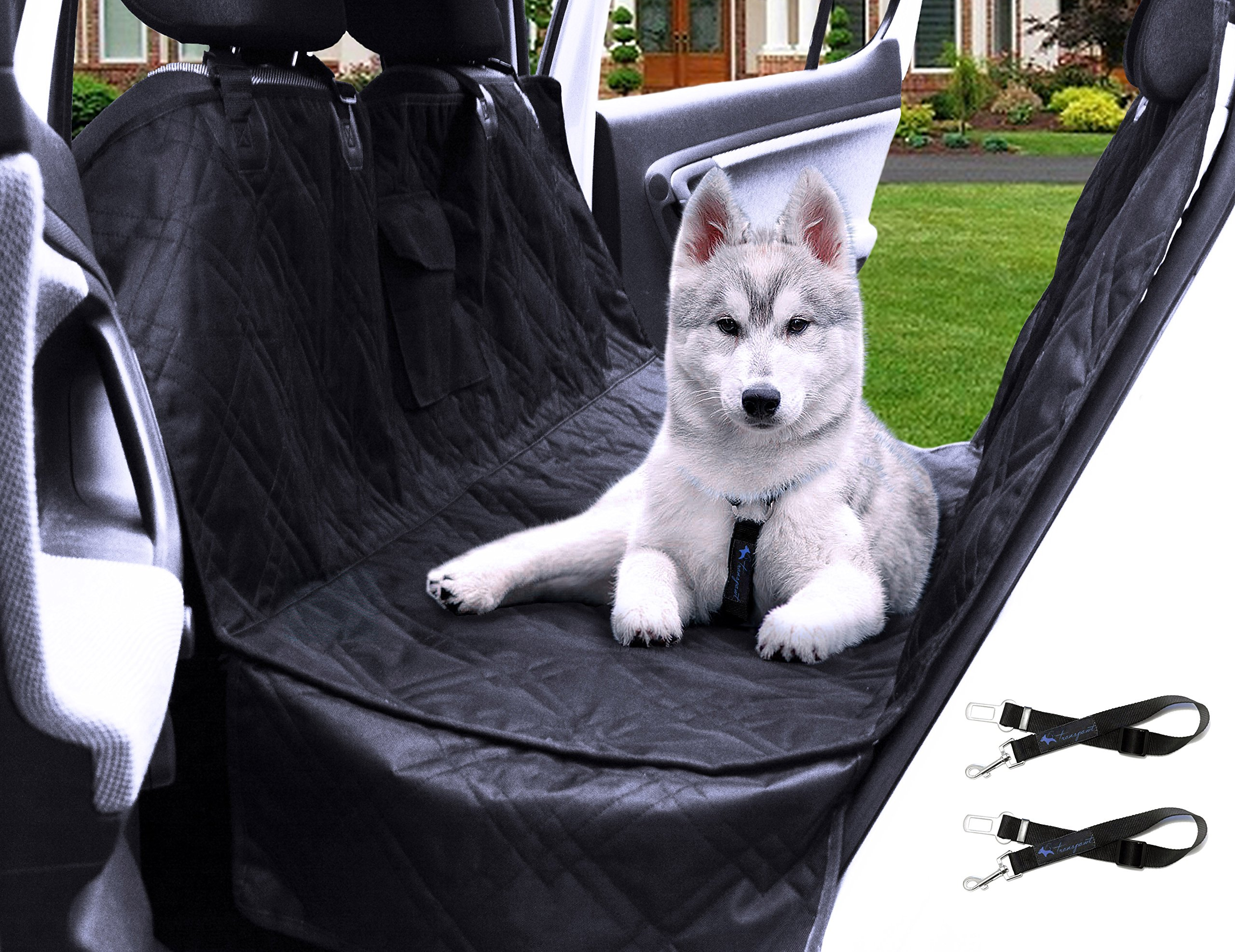 Transpawt Luxury Dog Car Seat Covers - Hammock Waterproof Pet Back Seat Cover for Cars, Trucks and SUVs - Black, 57''L x 55''W with additional 8'' Side Seat Protectors. Includes Bonus x2 Dog Seat Belts.