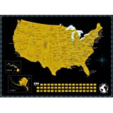 "Scratch Off Map of The United States of America with State Flags on Black Background. US Scratch Travel Map Perfect Gift for Travelers. Scratch Off Wall Map Poster. Size, 18"" x 24"""