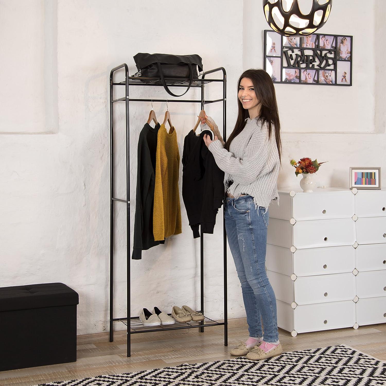 166 x 60,5 x 38 cm bianco-grigio metallo HxLxP Relaxdays Stand appendiabiti SANDRA con mensola inferiore per scarpe