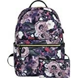 KROSER Laptop Backpack 15.6 Inch Stylish Travel Business Computer Bag with USB Charging Port Water Repellent Floral College School Bookbags for Women/Girls (Rose Pattern)