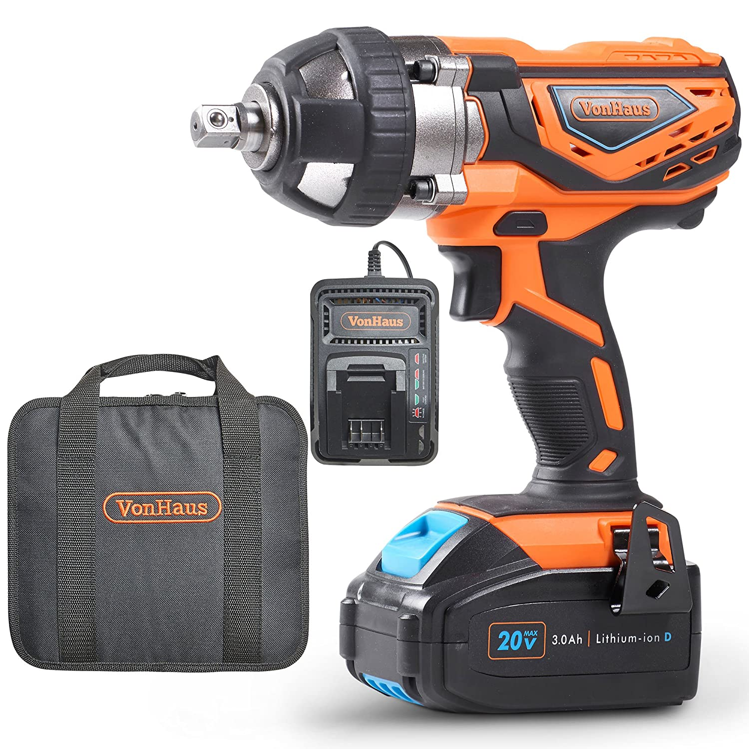 "VonHaus 20V MAX Cordless 1/2"" Impact Wrench Set"